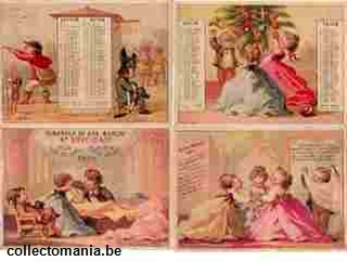 Chromo Trade Card ABM_TM_CAL_1868 BOOKLET 8 CARDS CALENDAR 1868